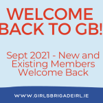 Image with text says Welcome Back to GB, includes Girls' Brigade logo and uniform