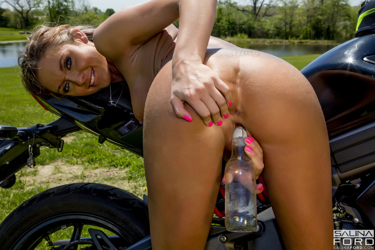 Girls riding a dildo on a bike something