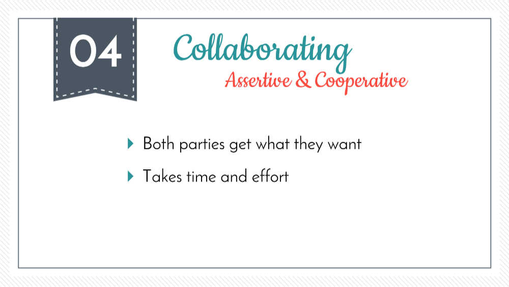 colaborar como una forma de resolver conflictos