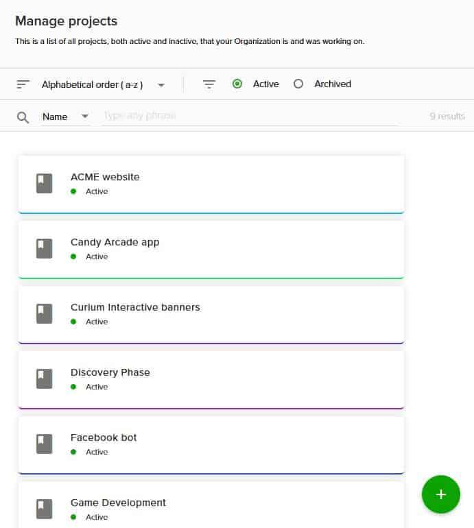 Lista de proyectos Teamdeck