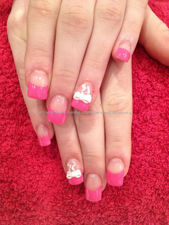 Simple Yet Elegant Looking Pink Nail Art Design A Wonderful Black Ribbon French Tip Has