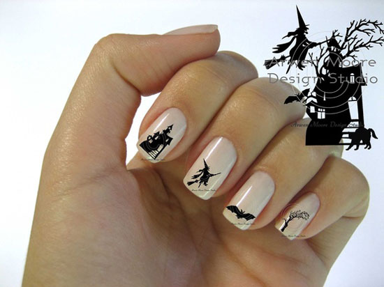Silhouette Black Witch Tree Cat House Nail Art Waterslide Water Decals