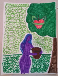 marker drawing of Eve collecting a uterine apple with a snake wrapped around it from a tree into her bucket