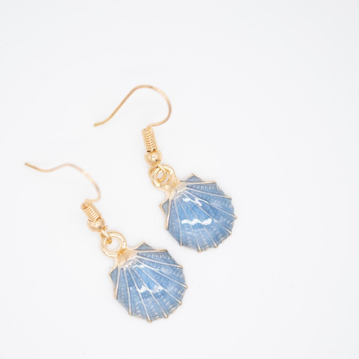 ORB-003 Oorbellen met blauwe schelp
