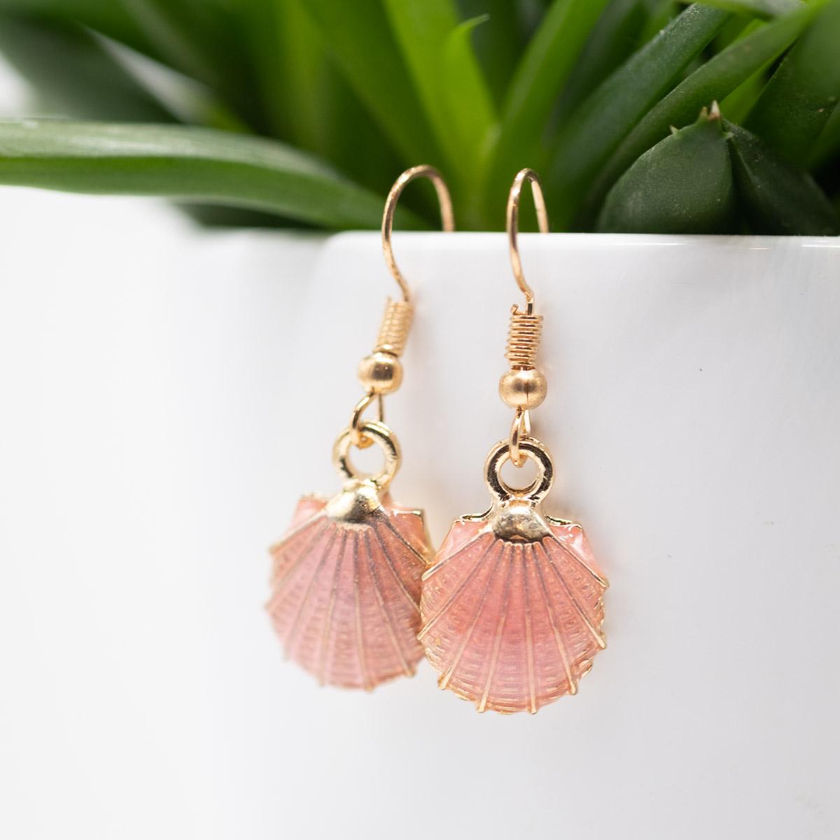 ORB-003 roze schelpen oorbellen