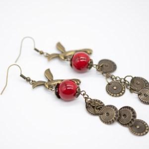 ORB-007 vintage oorbellen met vogel