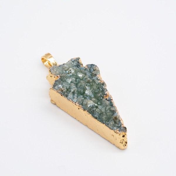 HGR-004 groene agaat hanger met kristal
