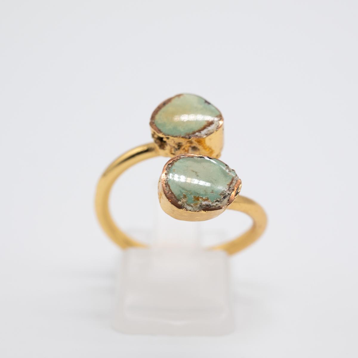 RNG-009 groene turkoois ring boho goud