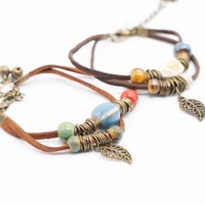 bohemian lederen armband met keramiek kopen