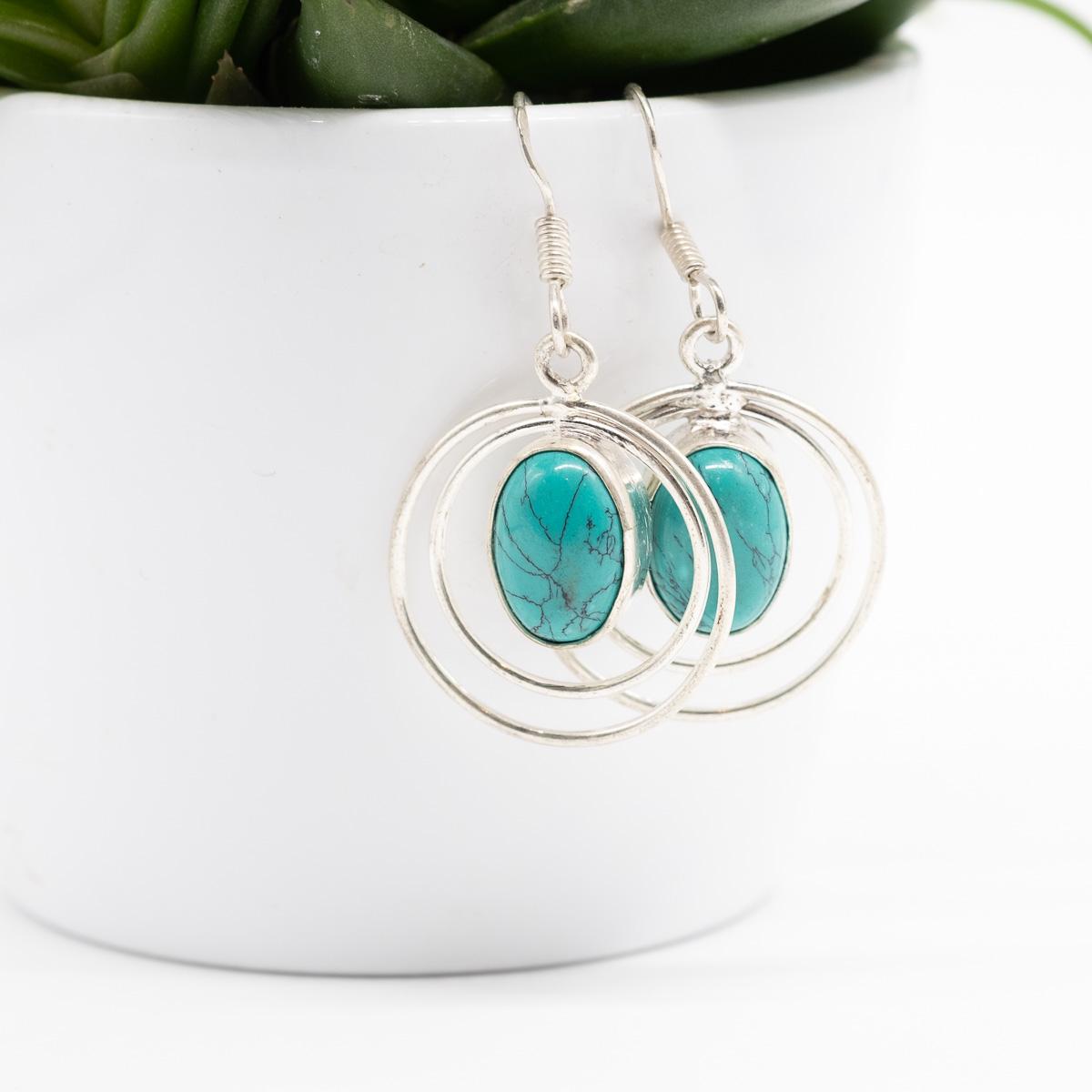 ORB-029 turquoise oorbellen