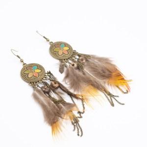 Bohemian oorbellen met veertjes kopen