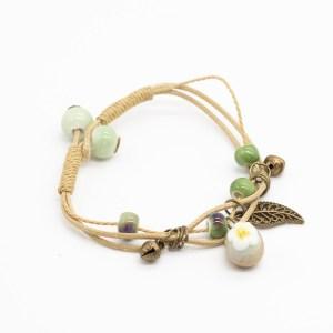 bohemian armband met bloem en blaadje