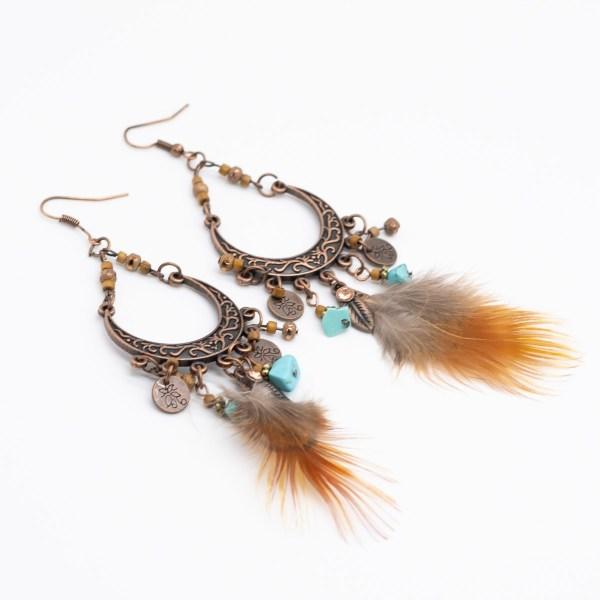 ORB-048 boho bohemian oorbellen met veer en turkoois kopen