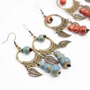 Bohemian oorbellen blauw