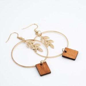 minimalistische oorbellen met hout kopen online webshop