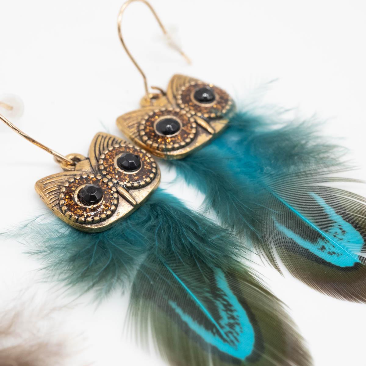 ORB-071 ibiza oorbellen blauw kopen uil
