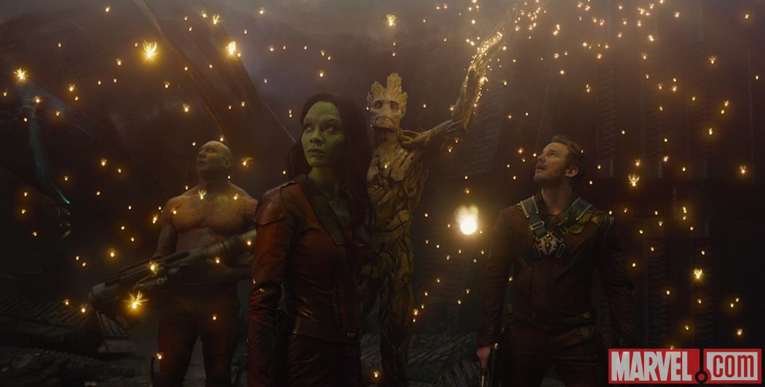 Drax, Gamora, Groot and Peter Quill in Guardians of the Galaxy. © Marvel