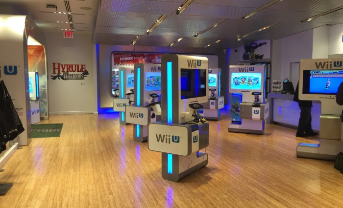 Lots of Wii U games to play at the Nintendo World Store in NYC © Leah Jewer / Girls on Games