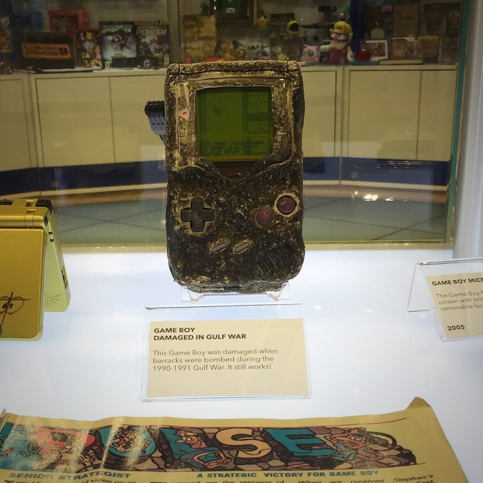 A GameBoy that survived the Gulf War. Yes, it still plays Tetris! At the Nintendo World Store in NYC © Leah Jewer / Girls on Games