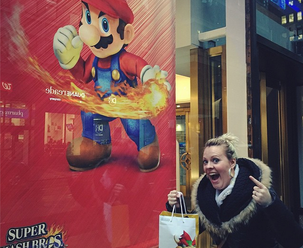 Leah at the Nintendo World Store in NYC © Elyse Jewer / Girls on Games