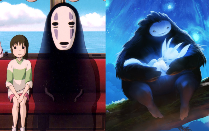 The character design of Naru from Ori and the Blind Forest resembles that of Noface from Mayazaki's Spirited Away.