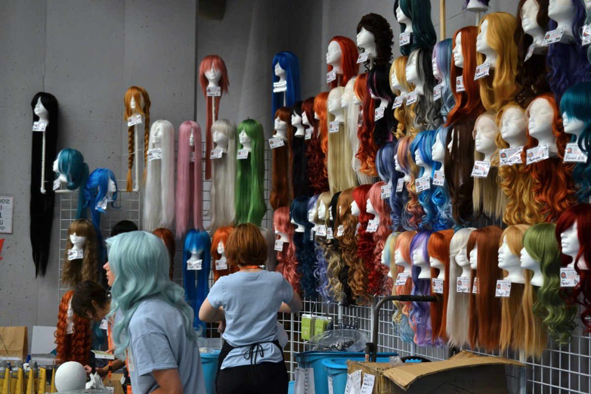 Wigs for sale at vendor booth at Otakuthon 2015