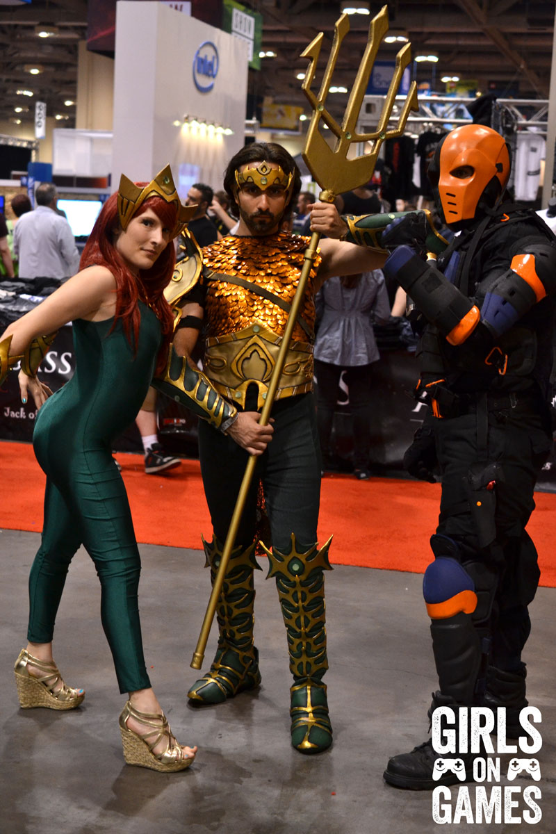 Mera, Aquaman and Deathstroke cosplay at Fan Expo 2015
