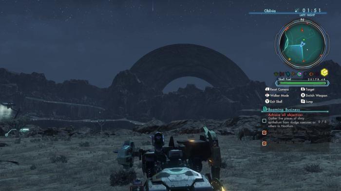 Dessert area Oblivia during meteor shower (captured from Wii U)