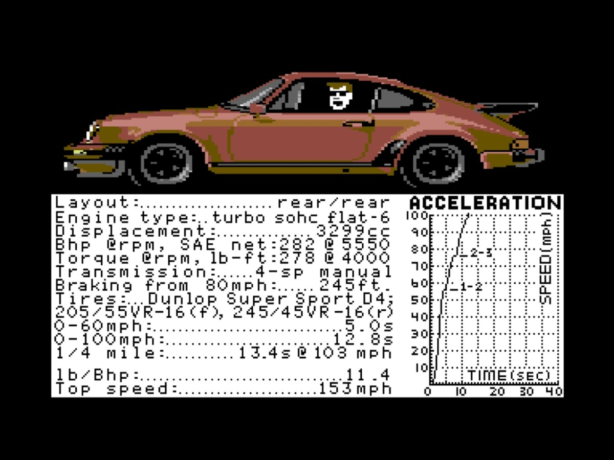 How the 911 Turbo looked like in a 1987 video game. That hair though!