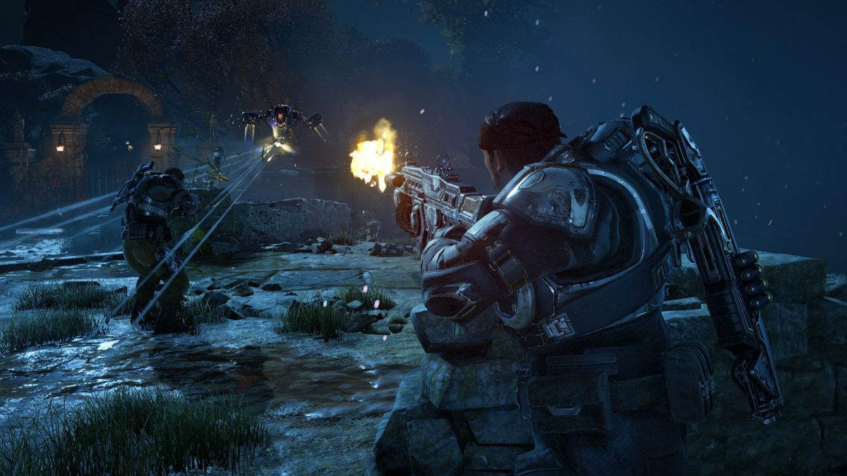 Gears of War 4 starts out sunny and green, but it does go back to its darker roots.
