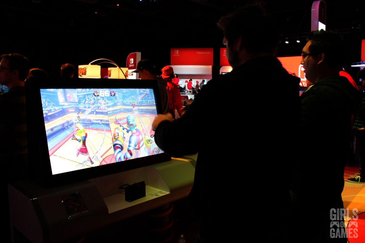 Guys playing Arms at the Nintendo Switch event in Toronto. Photo: Leah Jewer / Girls on Games