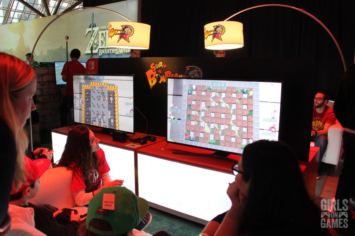 Super Bomberman R at the Nintendo Switch event in Toronto. Photo: Leah Jewer / Girls on Games