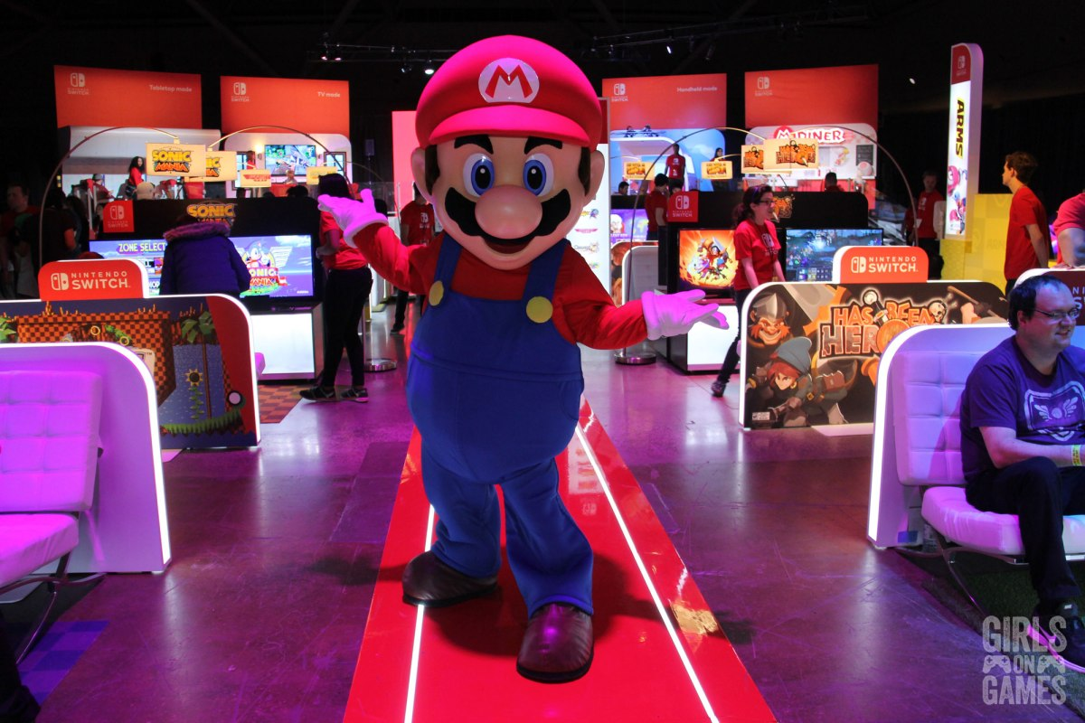 Mario living it up at the Nintendo Switch event in Toronto. Photo: Leah Jewer / Girls on Games