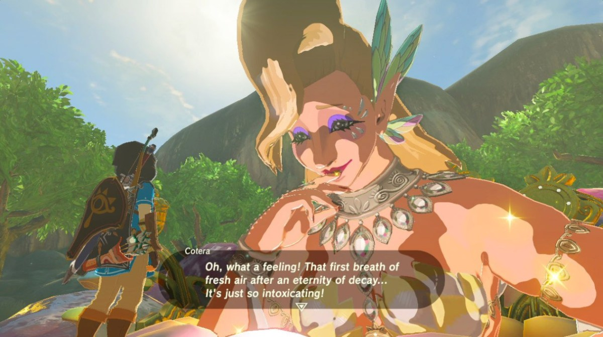 Visiting the Great Fairy in the Legend of Zelda: Breath of the Wild. Screen shot from Nintendo Switch by Leah Jewer
