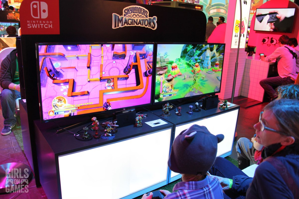 Attendees play Skylanders Imaginators at the Nintendo Switch event in Toronto. Photo: Leah Jewer / Girls on Games