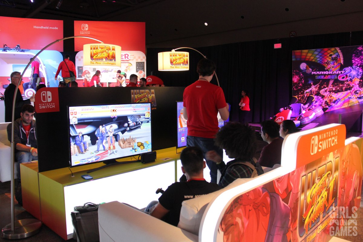 Attendees play Ultra Street Fighter 2 at the Nintendo Switch event in Toronto. Photo: Leah Jewer / Girls on Games