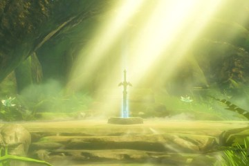 The Master Sword in all it's glory. The Legend of Zelda: Breath of the Wild. Screen shot from Nintendo Switch by Leah Jewer