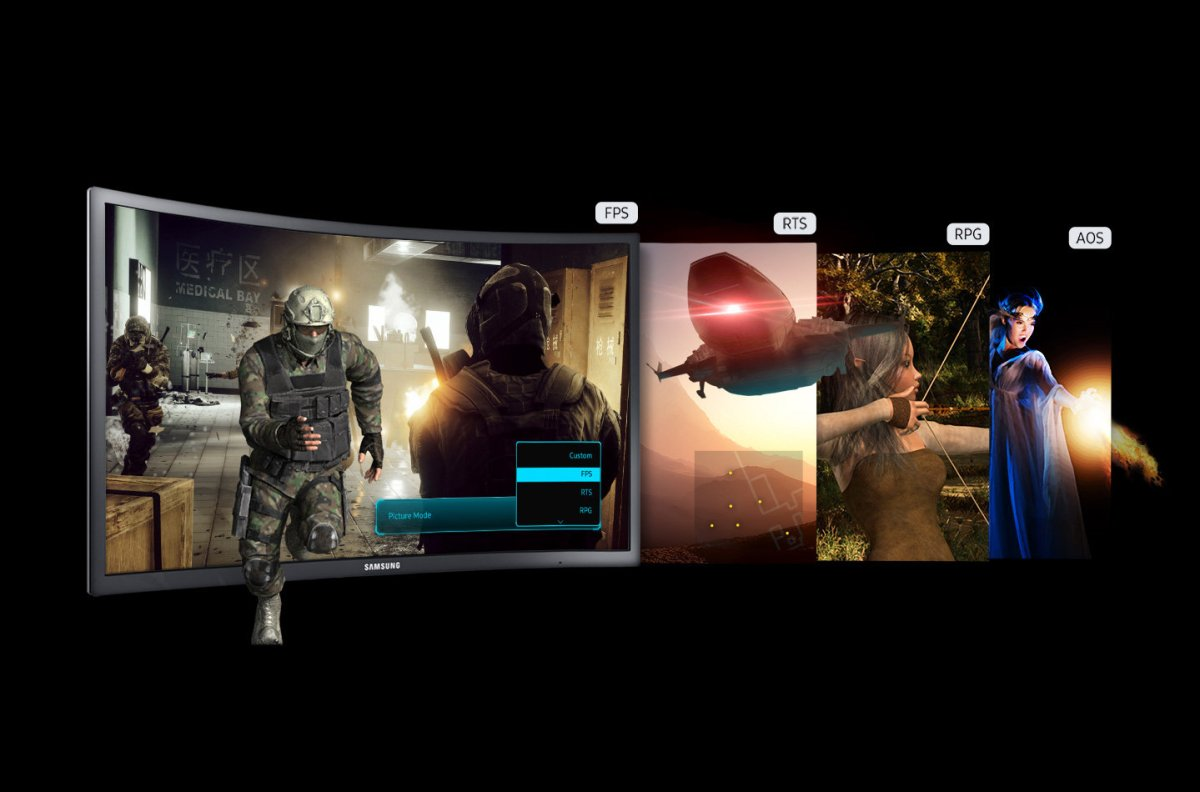 "Samsung demo of game modes for 24"" CFG70. Image from Samsung"