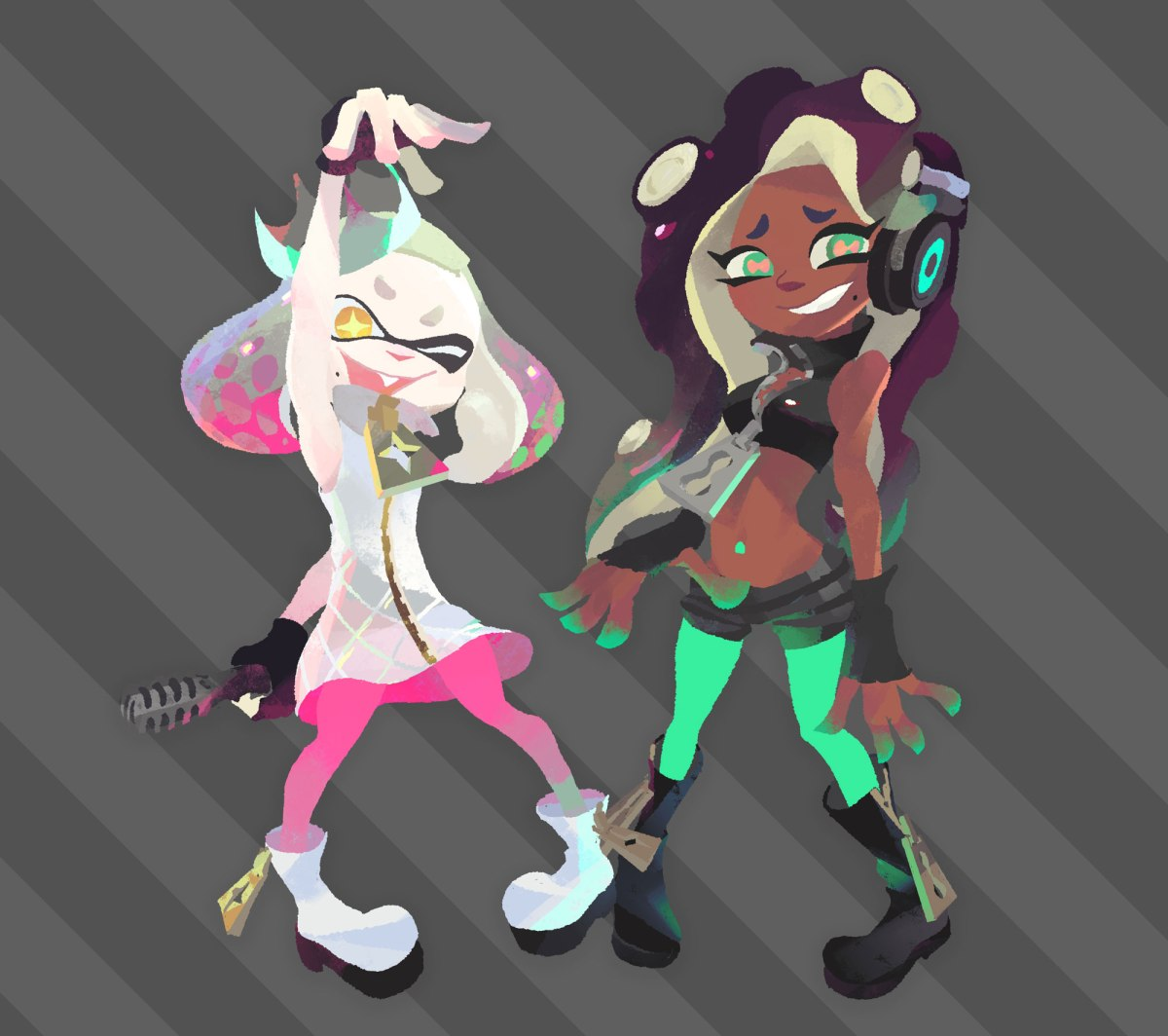 Splatoon2 illustraion of Off The Hook hosts Pearl and Marina. From Nintendo