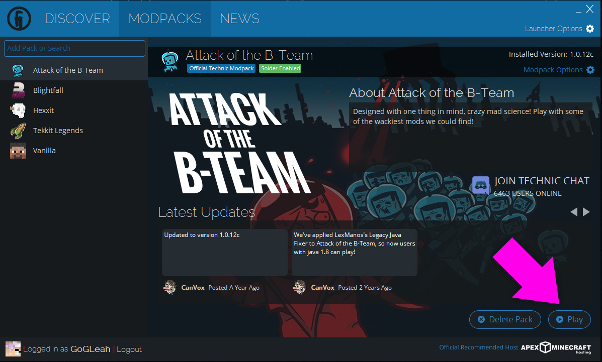 Attack of the B-Team page on the Technic Launcher