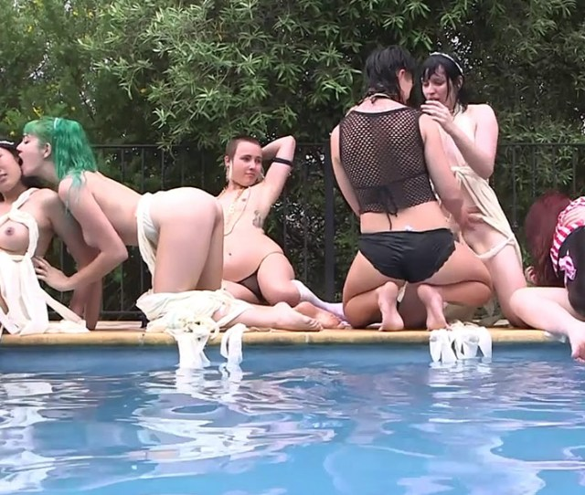 Lesbian Poolside Orgy