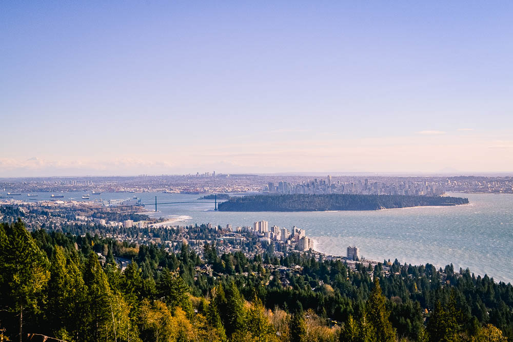 aerial view of vancouver from mount seymour