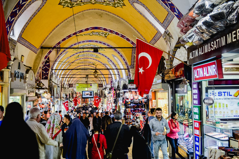 Image showing a very crowded and vibrant Grand Bazaar lane in Istanbul Turkey