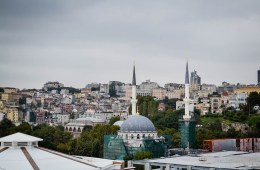 View of Istanbul's cityscape dominated by skyscrapers and mosques
