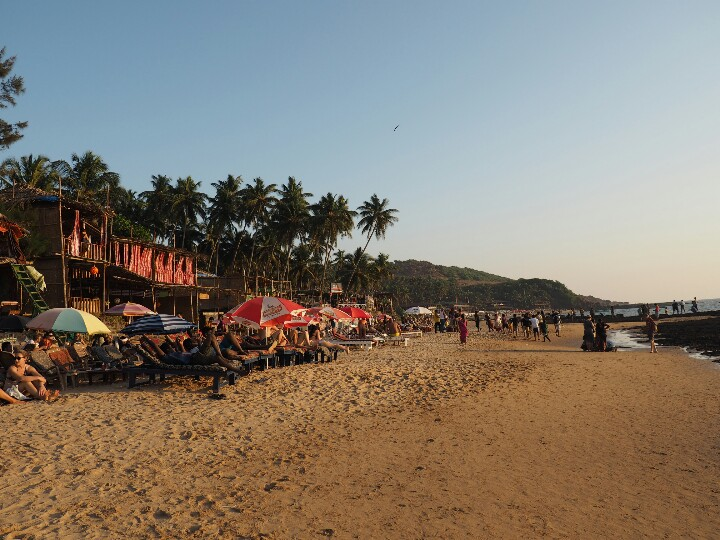 View of Goan beach at sunset, India