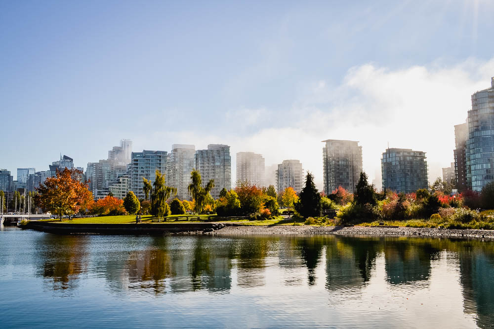 Stanley Park sea wall view of Vancouver