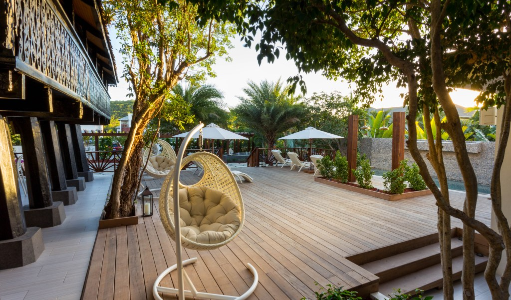 hanging chair on beautiful deck of yoga resort