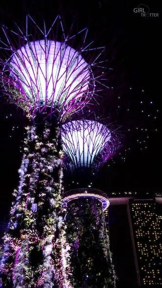 The Supertrees de Gardens by the Bay by night à Singapour - Girltrotter