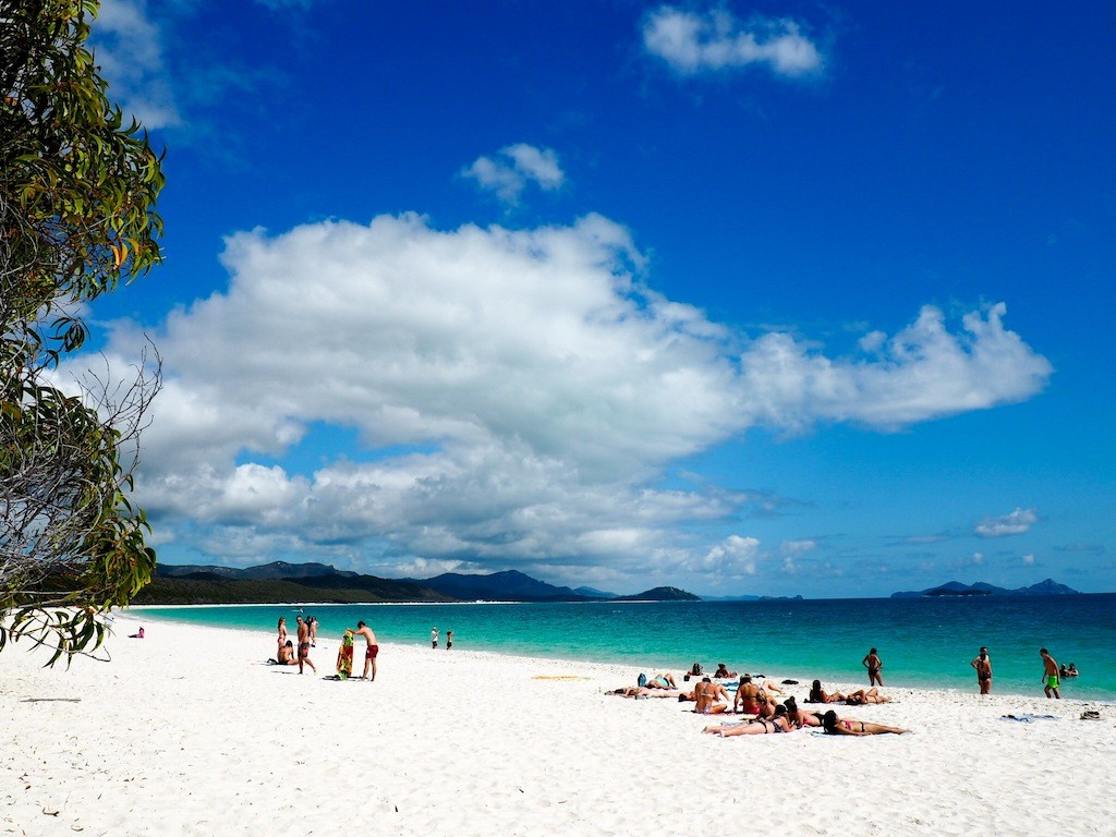 Hanging out at Whitehaven Beach on a day trip with Cruise Whitsundays