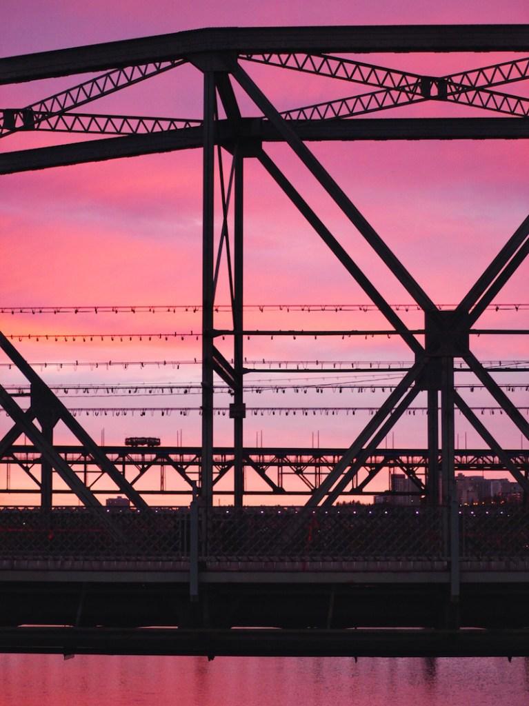 sunset from Waterdale Bridge Edmonton